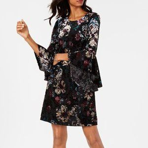 Nine West Velvet Burnout Bell Sleeve Dress 4 X